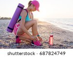 fitness woman is preparing for... | Shutterstock . vector #687824749