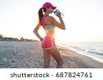 beautiful fitness athlete woman ... | Shutterstock . vector #687824761