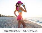 beautiful fitness athlete woman ... | Shutterstock . vector #687824761