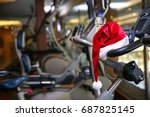 santa hat on modern fitness... | Shutterstock . vector #687825145