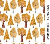 watercolor seamless pattern...   Shutterstock . vector #687827329