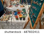 clay dishes sold festival | Shutterstock . vector #687832411