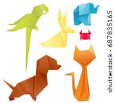 animals origami set japanese... | Shutterstock .eps vector #687835165