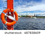 life ring in the background of... | Shutterstock . vector #687838609