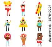 people wearing fast food snacks ... | Shutterstock .eps vector #687840229