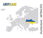 eu and europe map with ukraine... | Shutterstock .eps vector #687841351