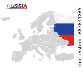 eu and europe map with russia... | Shutterstock .eps vector #687841369