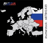 eu and europe map with russia... | Shutterstock .eps vector #687841435