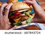 homemade hamburger with fresh...   Shutterstock . vector #687843724
