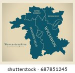 modern map   worcestershire... | Shutterstock .eps vector #687851245