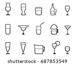 alcohol cup linear icons set | Shutterstock .eps vector #687853549