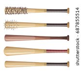 baseball bats set  illustration ... | Shutterstock .eps vector #687855514