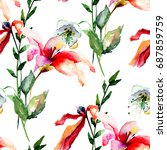 seamless wallpaper with lily ... | Shutterstock . vector #687859759