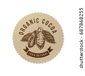 organic cocoa round label in... | Shutterstock .eps vector #687868255