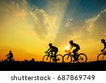 Silhouette Of Cyclist With...