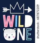 wild one and sweet bear head... | Shutterstock .eps vector #687872209