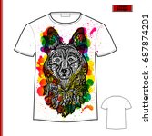 white gift t shirt with dog... | Shutterstock .eps vector #687874201