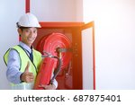 engineer inspection fire... | Shutterstock . vector #687875401