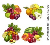 fruits bunches icons set.... | Shutterstock .eps vector #687876709