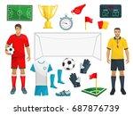 football or soccer sport game... | Shutterstock .eps vector #687876739