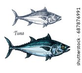 tuna fish vector sketch icon.... | Shutterstock .eps vector #687876991