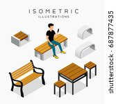 vector isometric wooden bench...
