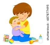 little boy hugging a baby | Shutterstock .eps vector #687877495