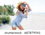 pretty cheerful girl  with... | Shutterstock . vector #687879541