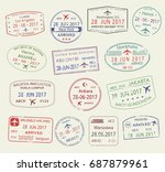 passport stamps set of city... | Shutterstock .eps vector #687879961
