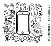 social media concept.... | Shutterstock .eps vector #687880714