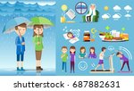 taking health care during rainy ... | Shutterstock .eps vector #687882631
