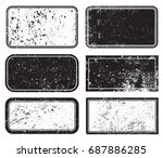 vector grunge post stamps.set... | Shutterstock .eps vector #687886285