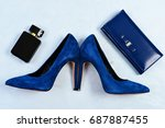shoes and clutch in dark blue... | Shutterstock . vector #687887455
