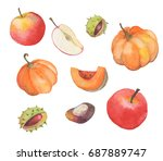 watercolor autumn set with... | Shutterstock . vector #687889747