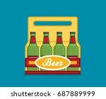 pack of beer bottles flat style ... | Shutterstock .eps vector #687889999