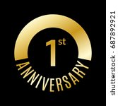1 year anniversary icon. 1st... | Shutterstock .eps vector #687892921