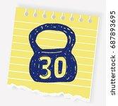 kettlebell doodle | Shutterstock .eps vector #687893695