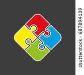 simple puzzle four piece... | Shutterstock .eps vector #687894139