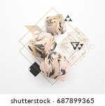 rose gold marble template set ... | Shutterstock .eps vector #687899365