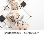rose gold marble template set ... | Shutterstock .eps vector #687899374
