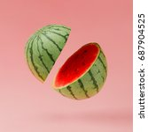 watermelon sliced on pastel... | Shutterstock . vector #687904525