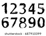 set of grunge numbers.vector... | Shutterstock .eps vector #687910399