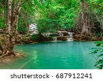 soft waterfall  beautiful green ... | Shutterstock . vector #687912241