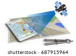 3d illustration of map with... | Shutterstock . vector #687915964