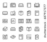 set of 25 book thin line icons. ... | Shutterstock .eps vector #687917377