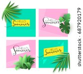 Set Of Tropical Banners With...