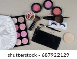 makeup products with cosmetic... | Shutterstock . vector #687922129