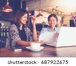 asian business girl working and ... | Shutterstock . vector #687922675
