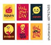 halloween handdrawn. greeting... | Shutterstock .eps vector #687927655