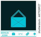 mail icon flat. simple blue...